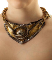 Gold Orgonite Leather Necklace