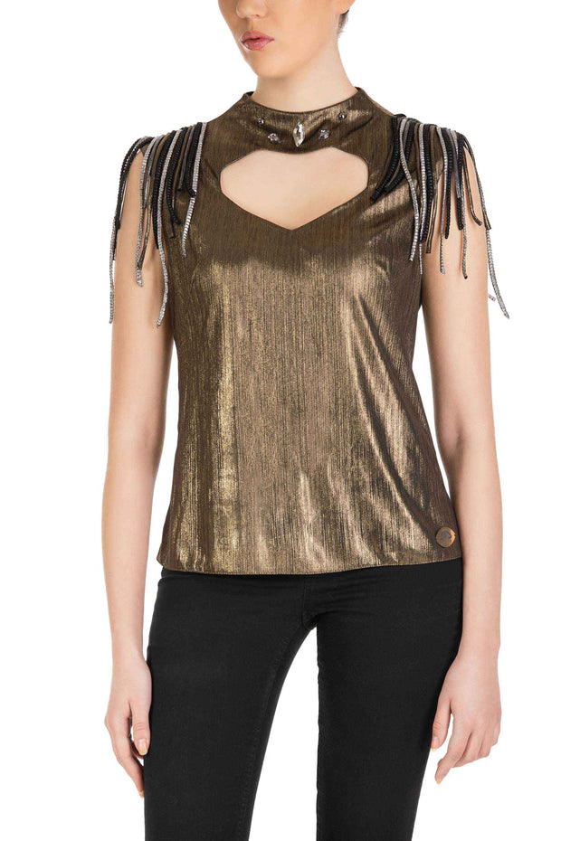 Golden Chic - Metallic Sleeveless Mock Neck Top