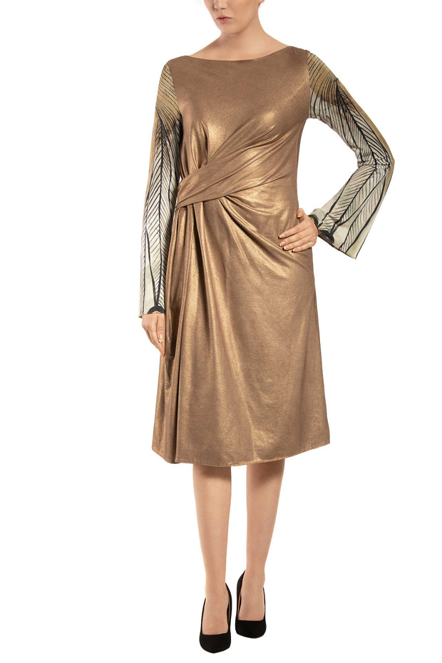 Golden Leaf Bell Sleeve Knotted Midi Dress