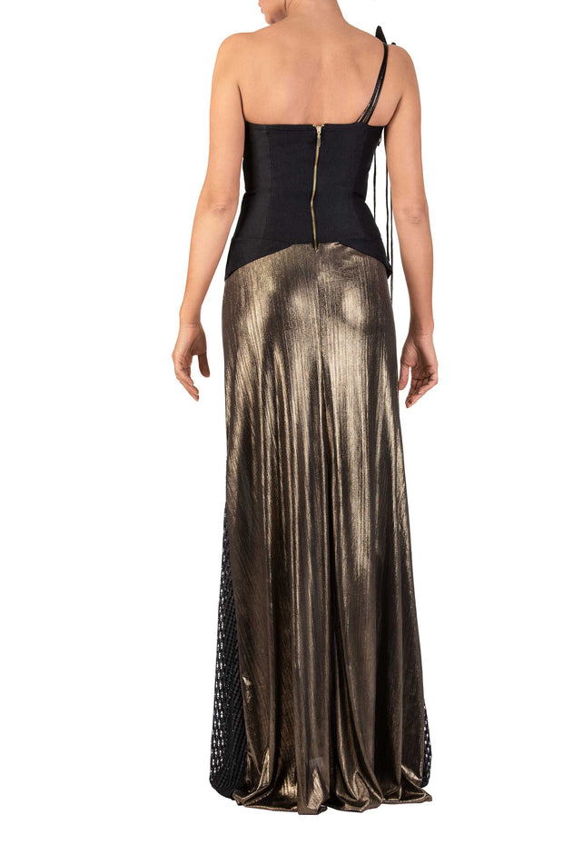 Golden Opera One-Shoulder Maxi Dress