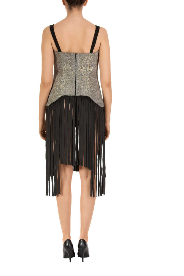 Golden Wave - Black Fringe Detail Sleeveless Top