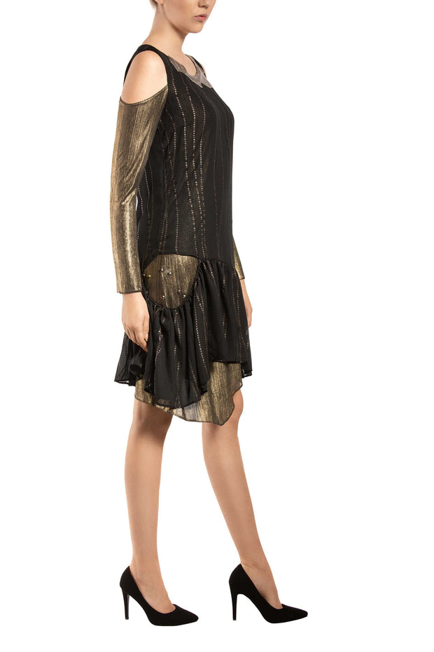 Golden Lines Long Sleeve Shift Dress