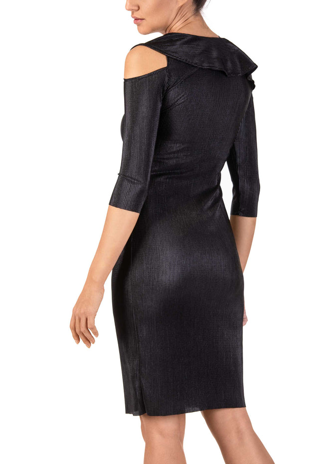 Grace Noir Cold-Shoulder Pencil Dress