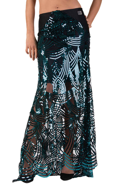 Sheer Mesh Sequin Embroidered Maxi Skirt