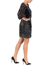 Green Leopard Print Blouson Mini Dress