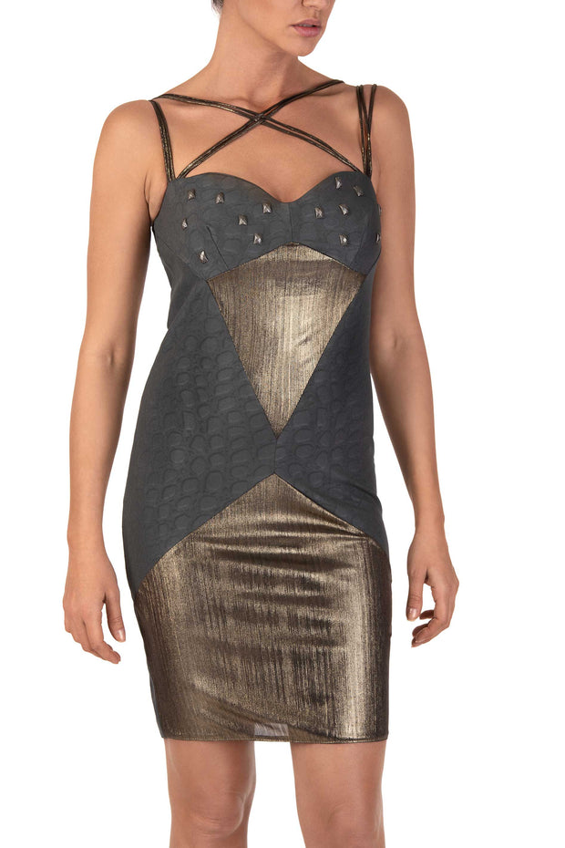 Intergloss Strappy Bodycon Mini Dress