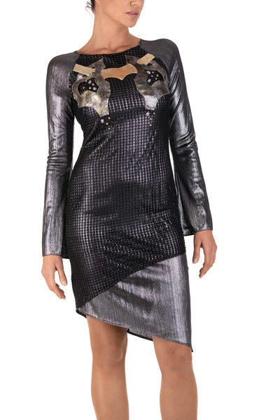 Ironglam Long Sleeve Asymmetrical Dress