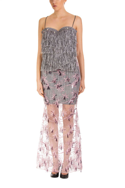 Lavender Fringe Detail Maxi Dress