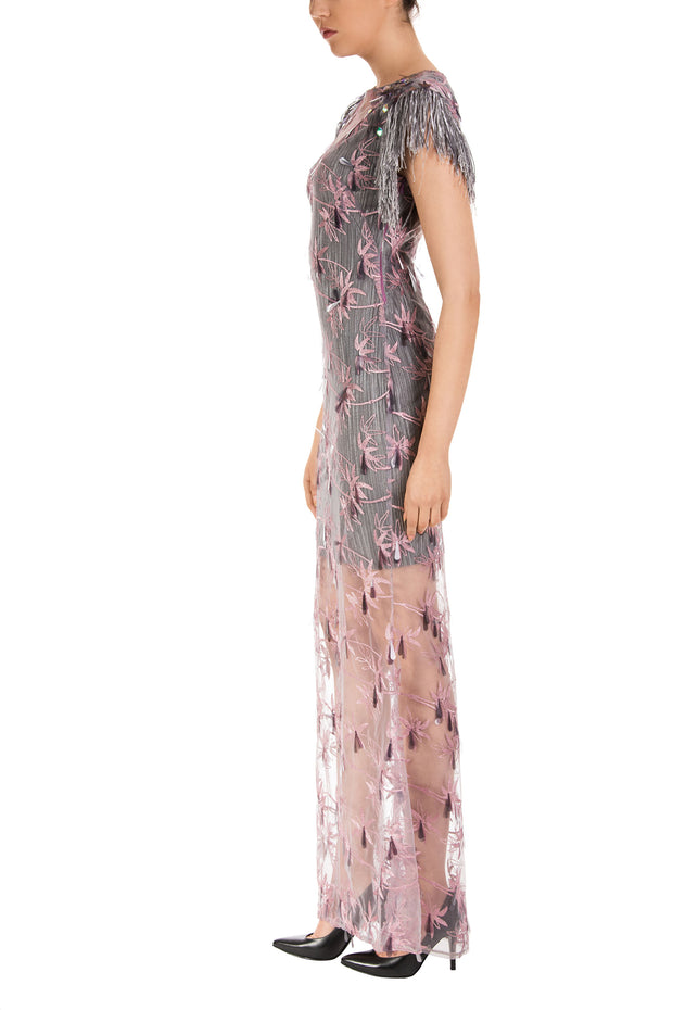 Lilac Sleeveles Floral Lace Maxi Dress