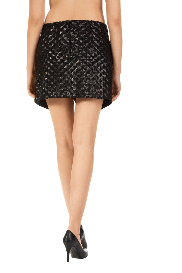 Mini Lex Black Sequin Skirt