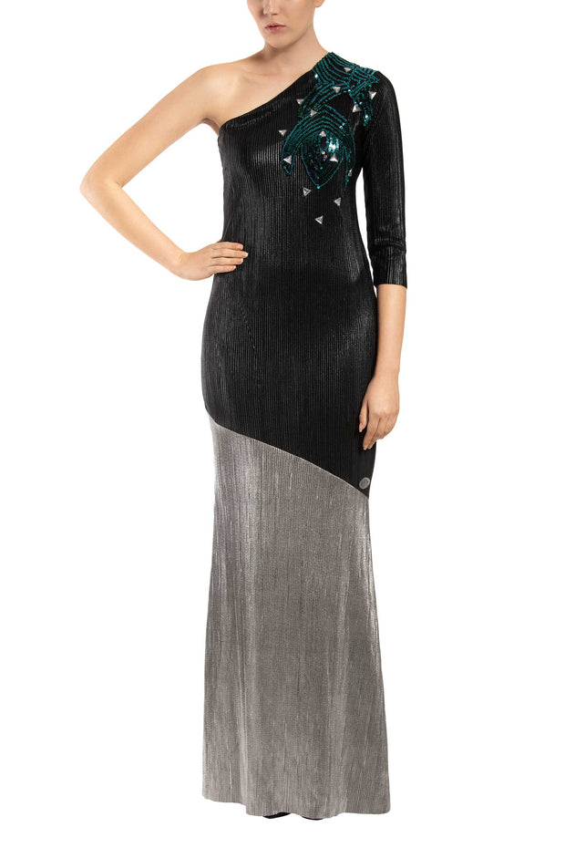 Modern Opera One-Shoulder Maxi Dress