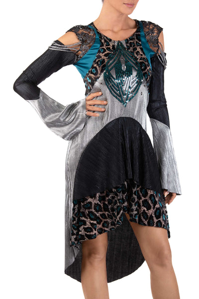 Night Queen High-Low Bell Sleeve Dress