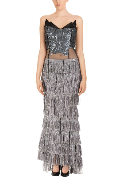 Night Tulip Strapless Silver Fringe Maxi Dress