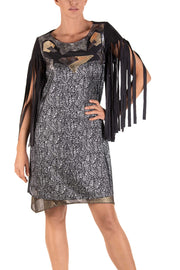 Owl Fringe Sleeve Dress