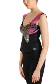 Pink Bunny - Leather Detail Sweetheart Neckline Top