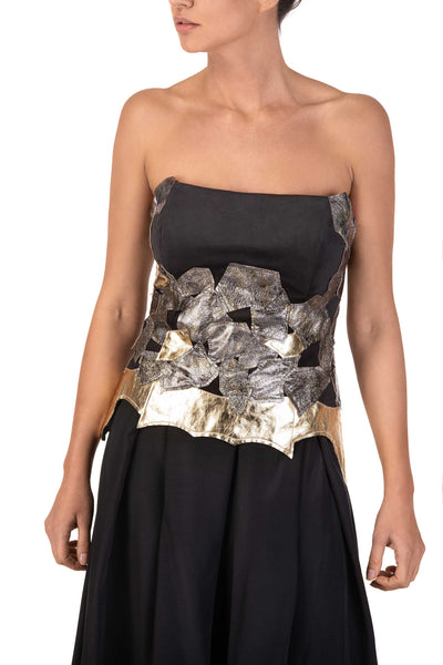 Shiny Skin - Strapless Silver Gold Leather Detail Top