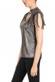 Silver Chic - Metallic Sleeveless Mock Neck Top