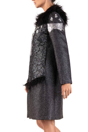 Silver Cosmo - Black Faux Fur and Floral Lace Detail Coat
