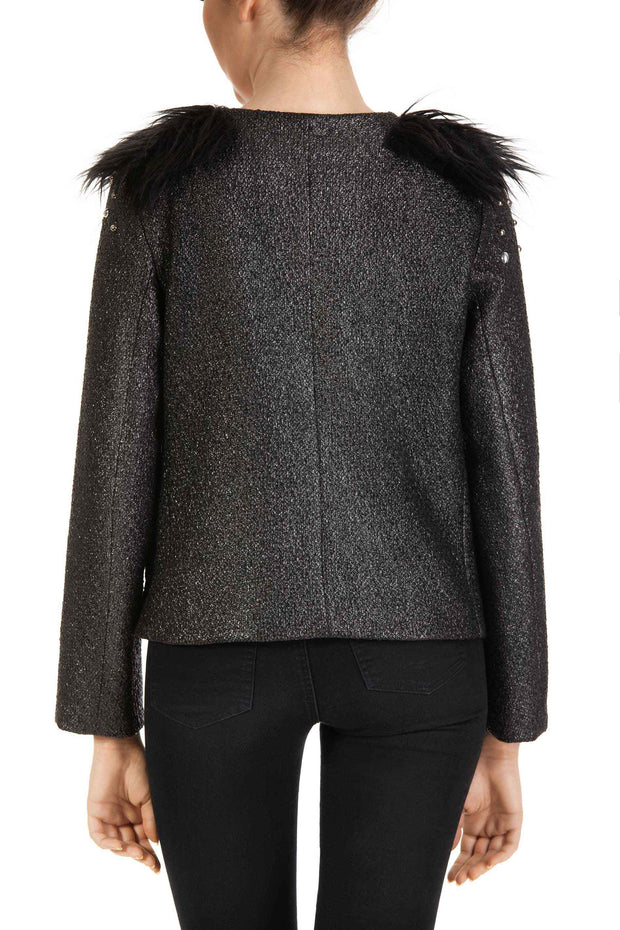 Silver Eye - Black Faux Fur and Leather Detail Jacket