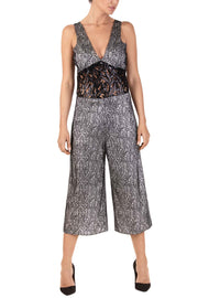 Silver Gleam Sleeveless Three-Quarter Wide-Leg Romper