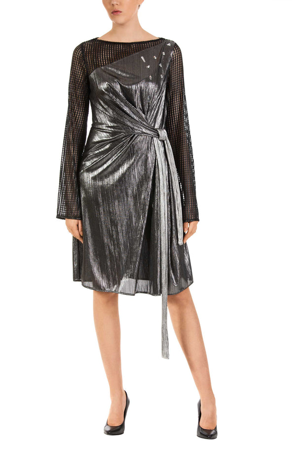 Silver Knot Long Sleeve A-Line Midi Dress
