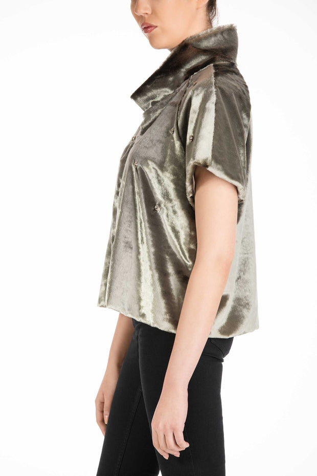 Silver Mark Short Sleeve Faux-Fur Jacket