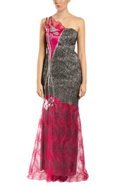 Silver Opera One-Shoulder Maxi Dress