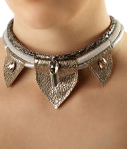 Silver Trio Leather Necklace