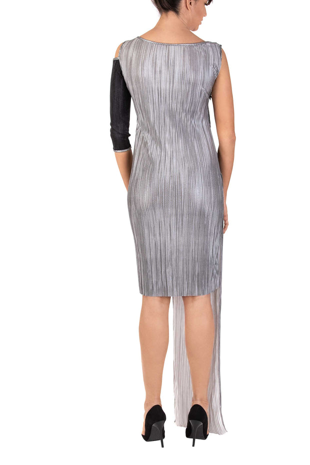 Silver Glam One-Shoulder Midi Dress