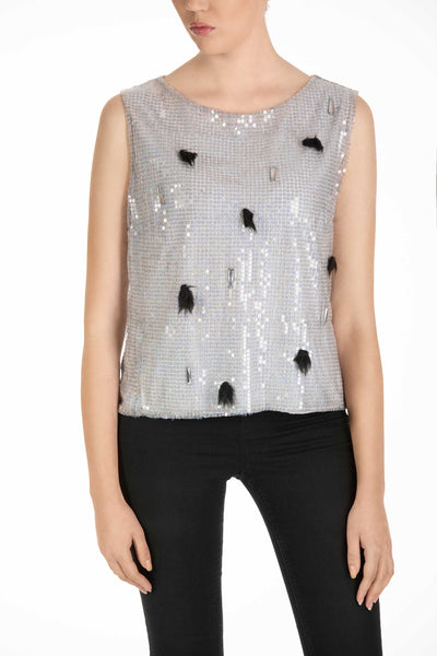 Sparkle - Sleeveless Silver Sequin Top