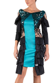 Spectrum Petrol Ruffled Dress