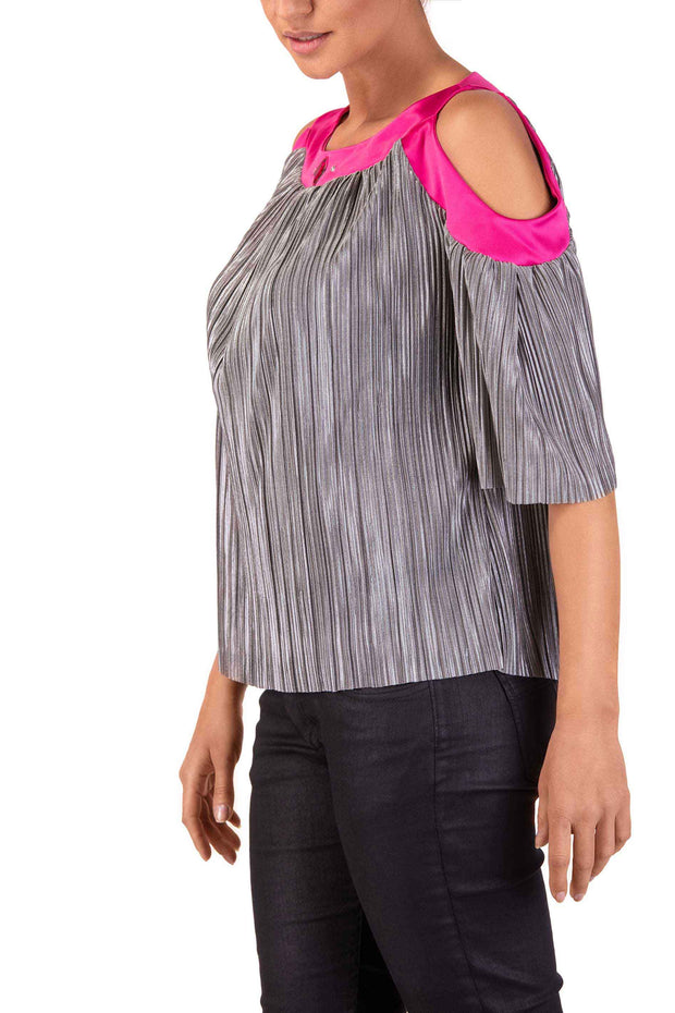 Spray Rose - Grey Cold-Shoulder Top