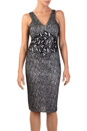 Sylva Black White Sleeveless Sheath Dress