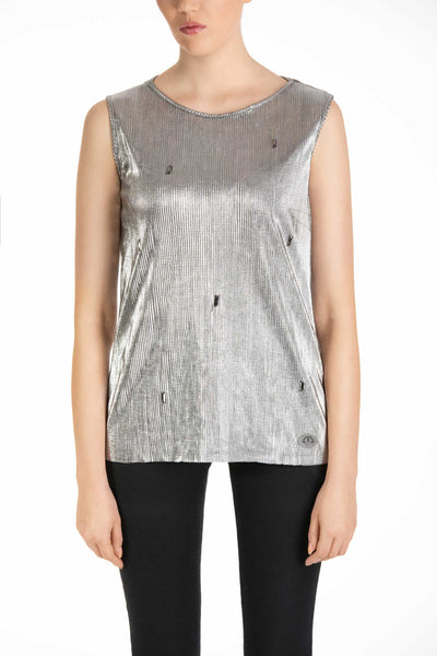 Pegasus Silver Sleeveless Top