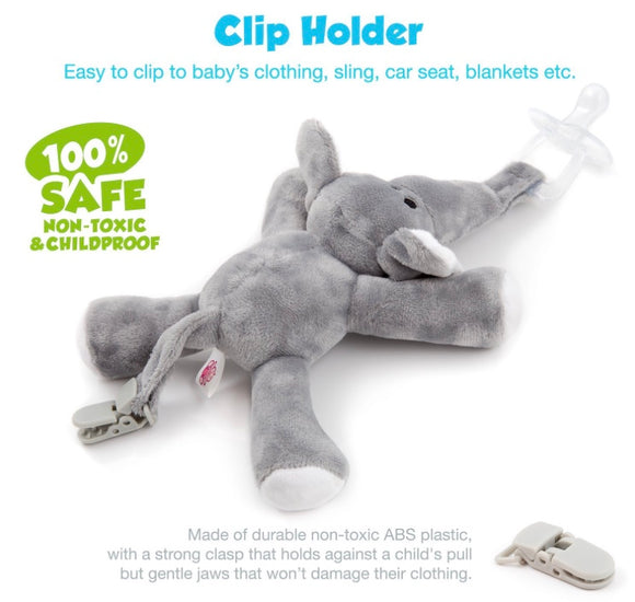 BabyHuggle Elephant Pacifier Clip Holder - Bargain Concept