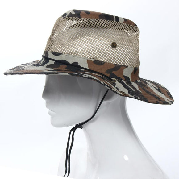 Hight Quality Outdoor Mesh Sunshade Fishing Hat Fishing Visors Round Brim Breathable Cap - Bargain Concept