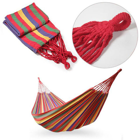 Portable Cotton Rope Outdoor Swing Fabric Camping Hanging Hammock Canvas Bed - Bargain Concept