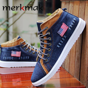 Fashion Breathable High-top Cowboy Men Canvas Shoes Denim Sewing Flat Shoes Casual Flats Man Shoes Casual Leisure Large Size - Bargain Concept