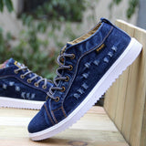 British Style Fashion Vintage Denim Jean Canvas Shoes Men High-top Casual Man Ankle Boots Flat Shoes Usual School Boy Footwear - Bargain Concept
