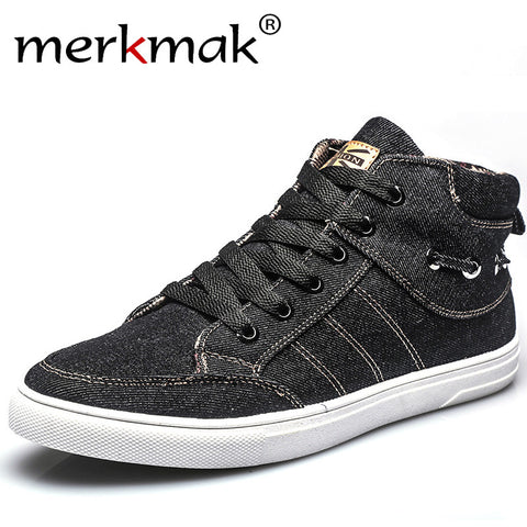 Men's Casual High Top Canvas Shoes Comfortable Washing Denim - Bargain Concept