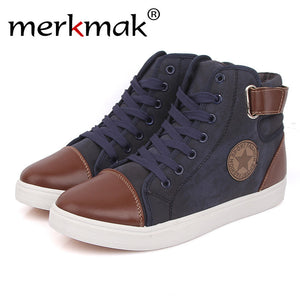 Merkmak Canvas High Top Men Shoes British Style Autumn Winter Ankle Breathable for Man Flats Shoes Casual - Bargain Concept