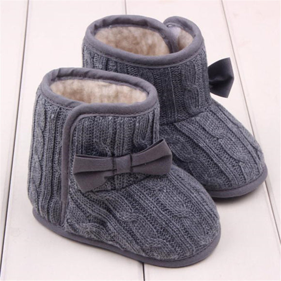 Baby Winter Shoes Knitted Wool Line Warm Bowknot Soft Sole First Walkers - Bargain Concept