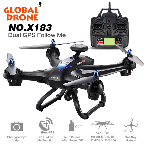 Global Drone X183 Drone Quadcopter Rc Helicopter Remote Control Toy can carry with 2MP WiFi FPV HD GPS Follow Me 720P Camera - Bargain Concept