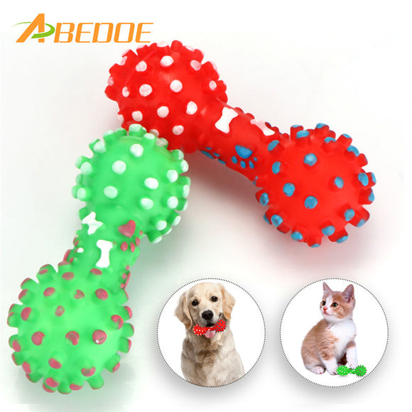 Colorful Dotted Dumbbell Shaped Dog Toys Squeaker - Bargain Concept