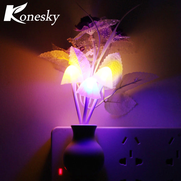 Luminaria LED Night Light Lamp Novelty Light Sensor Colorful Nightlights US Plug Mushroom Flower Plant Lilac - Bargain Concept