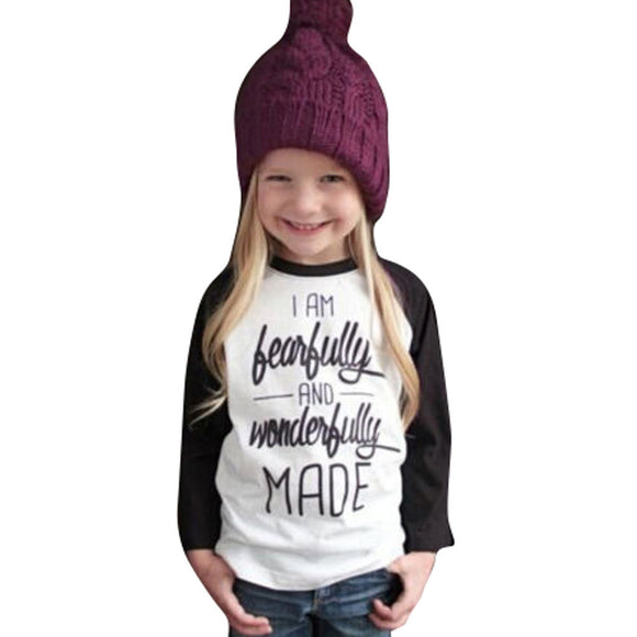 Toddler Baby Kids Girls Clothes Letter Print Long Sleeve T-shirt Blouse Tops - Bargain Concept