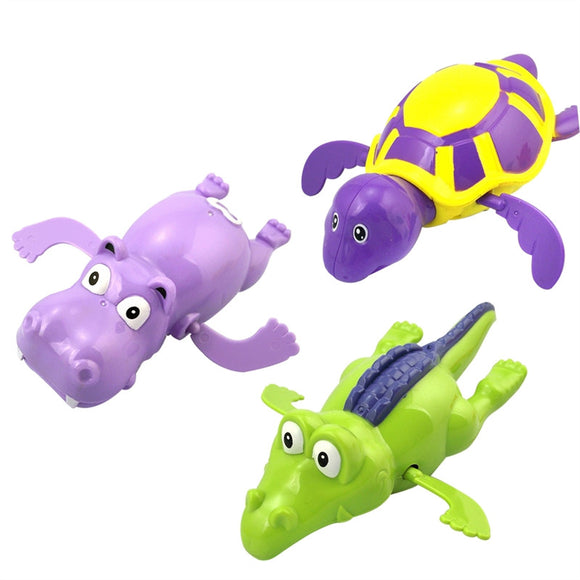 3pcs Pool Wind Up Bath Toys Animals Turtle Hippo Crocodile Swimming Tub Bathtub Clockwork Play Toy Kid Children Educational Water Toys - Bargain Concept