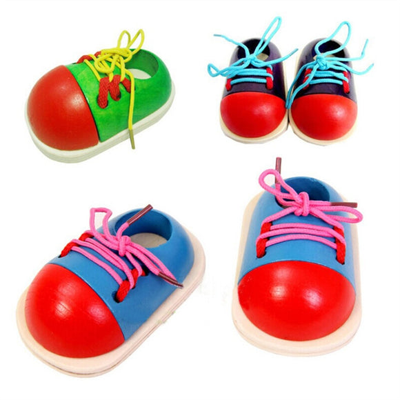 Wooden Toy Tie-Up Shoe Kids Learnimg To Tie Shoe Lacing - Bargain Concept
