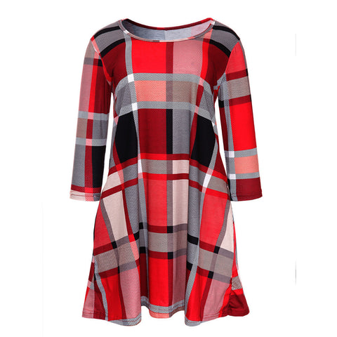 Womens Plaid Print Scoop Neck Casual Swing Tunic Mini Dress With Pockets - Bargain Concept