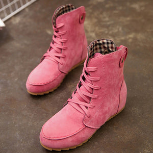Women Flat Ankle Snow Motorcycle Boots Female Suede Leather Lace-Up Boot - Bargain Concept